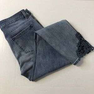 Soft Surroundings Touch of Lace Slim Ankle Jeans